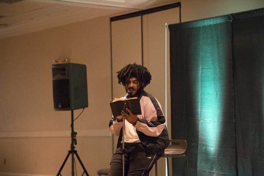 Harison Elizardo, sociology junior, read a personal poem for the 5th annual BSU Talent Show. February 7th, 2018. Photo by Elias Maki.