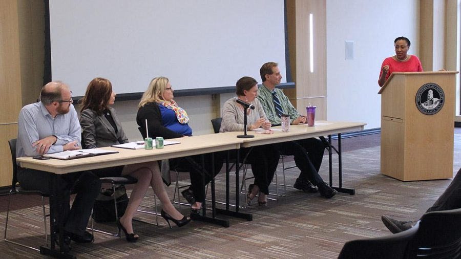 A panel discussion is lead by Syreeta Greene, director of equity inclusion and multicultural affairs, on the topic of first ammendment rights on a college campus during Critical Conversations: