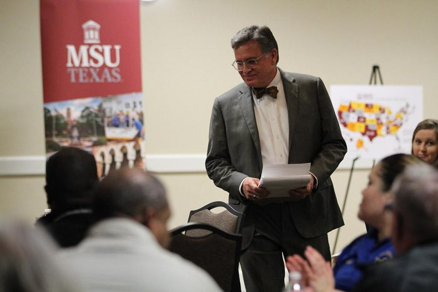 According to Robert Forrester, economics general business professor of finance, Carol Dillard, philanthropist, helped the new agribusiness degree plan and said it will offer students an education combatible to Tarltson in the agriculture and finance field at the Town Hall meeting Tuesday, Feb. 13, 2018. Photo by Cortney Wood