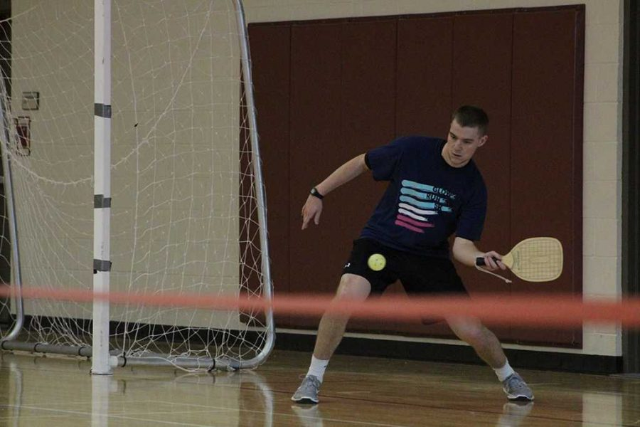 To introduce more intramural sports to campus, Mike Richardson, wellness center assistant director, plays Pickleball at the Bruce and Graciela Redwine Wellness Center on Friday, Feb. 16, 2018. Photo by Cortney Wood