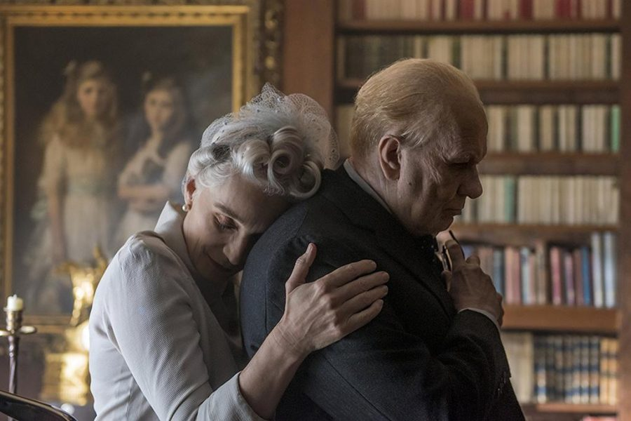 Gary Oldman and Kristin Scott Thomas in Darkest Hour (2017). Photo by Jack English.