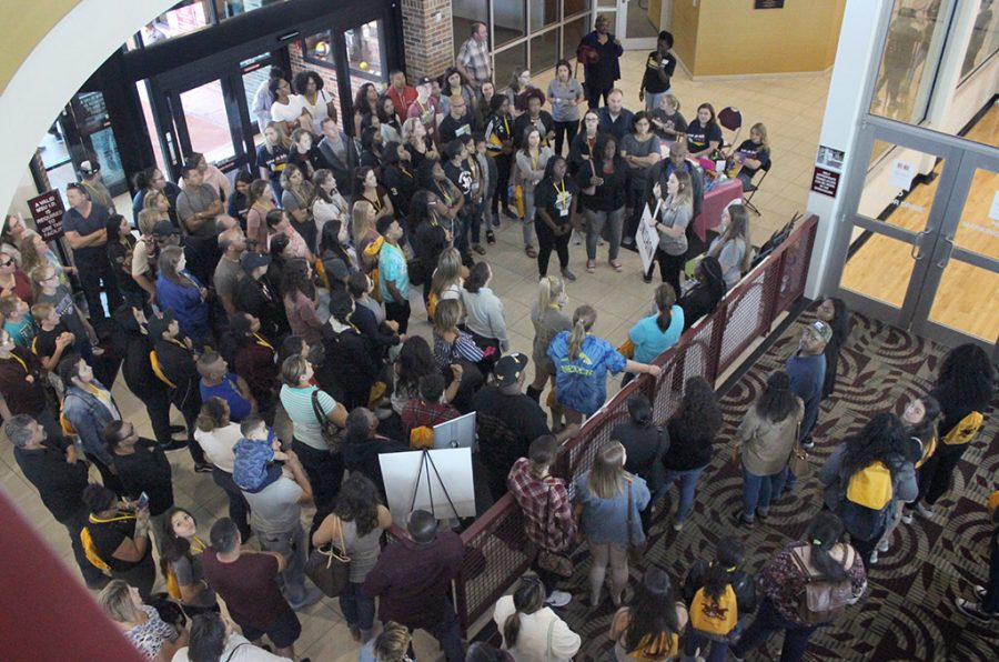 Prospective nursing students gather into the Wellness Center to hear information from the tour guides during the tour part of Mustangs Rally, Saturday, March 24, 2018. Photo by Rachel Johnson