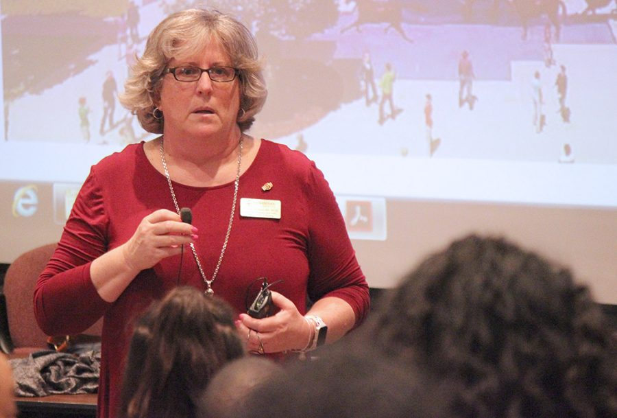 Kathleen Williamson, chair of nursing department, answers questions from prospective students during the academic departmental visit part of Mustangs Rally, Saturday, March 24, 2018. Photo by Rachel Johnson
