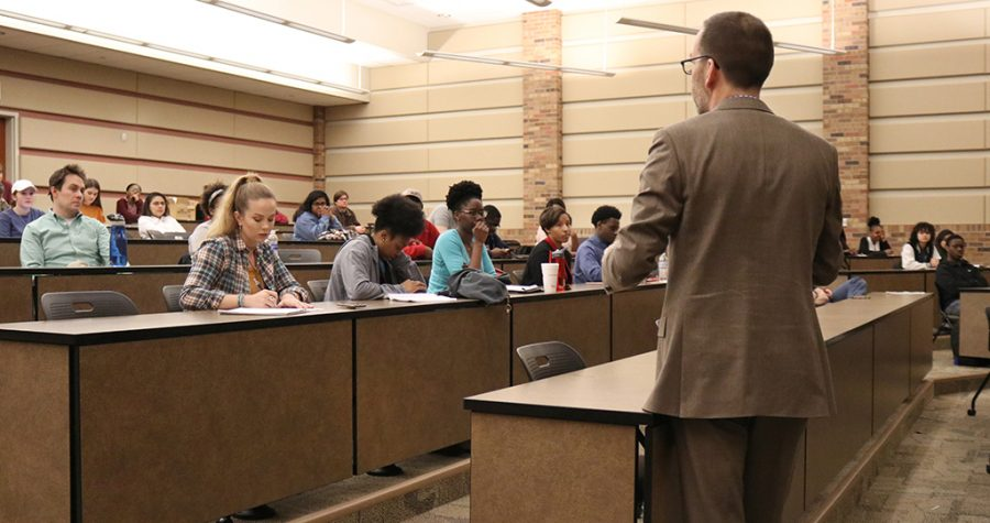 Douglas Moss, architect, answers questions by students regarding Moffett Library renovation during the Student Government Association meeting in Dillard on Tuesday, March 6, 2018. Photo by Francisco Martinez