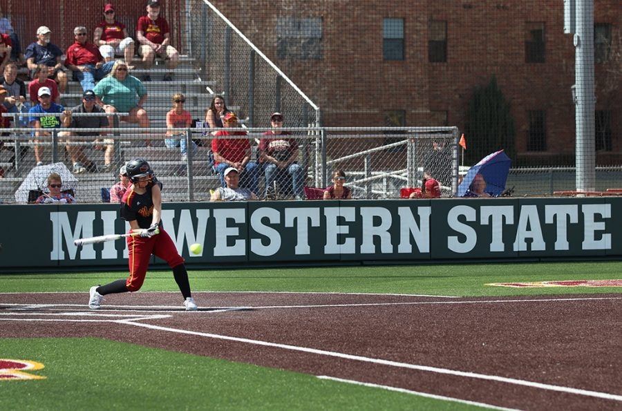 Kelsey Eropkin, psychology sophomore, hits the ball out of bounds, getting a foul, during the third inning against West Texas A&M at MSU Softball Fields, Saturday, March 24, 2018. Photo by Rachel Johnson
