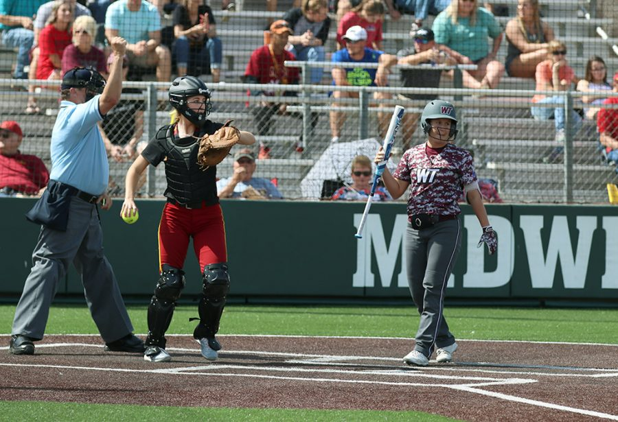 Amanda Thomas, sports and leisure senior, catches the strike from the West Texas A&M player, at the MSU Softball field, Saturday March 24, 2018. Photo by Rachel Johnson