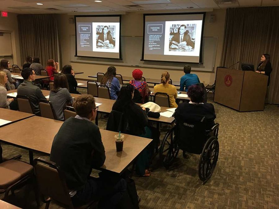 Student presents at the 12th Annual Honors Program Symposium in Dillard Room 189 on March 3. Photo by Tyler Manning.