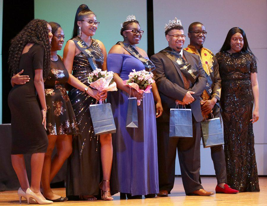 Participants pose for a group photo after the Ms. and Mr. Black Excellence Pageant at Akin Auditorium on Thursday, April 5, 2018. Photo by Francisco Martinez