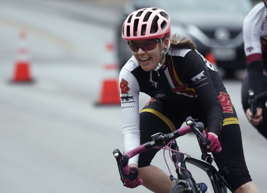 Amy Floyd, accounting senior, races in the Women's A category at the campus criterium around MSU campus on April 21, 2018. Photo by Justin Marquart