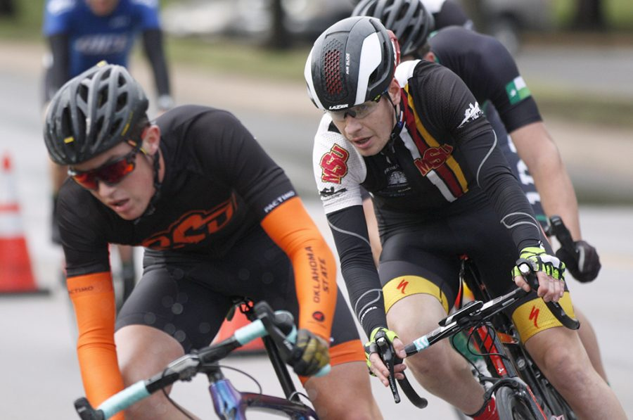 Bill Ash, accounting and finance senior, placed first in the Men's A category, where how won, at the campus criterium around MSU campus on April 21, 2018. Photo by Justin Marquart