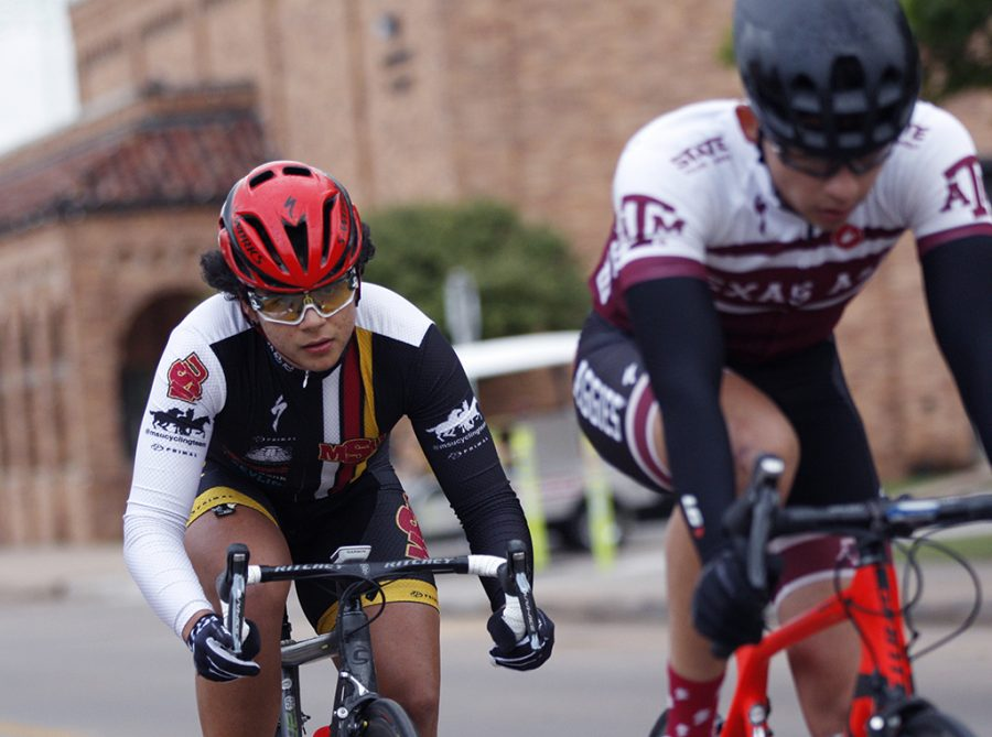 Alan Barrows, management information systems freshman, races inthe Men's A category at the campus criterium around MSU campus on April 21, 2018. Photo by Justin Marquart