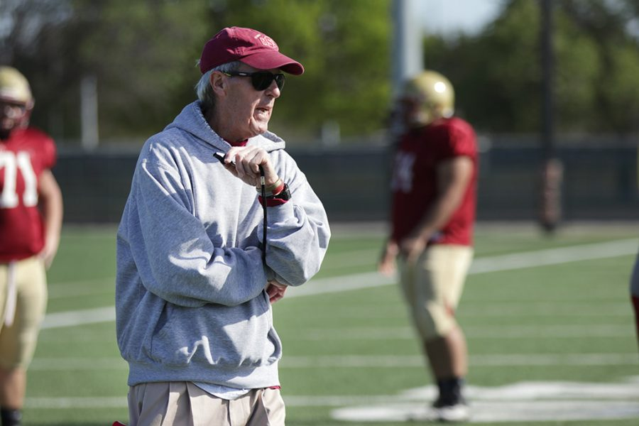 Head Football Coach Bill Maskill drills the team during practice Tuesday, April 10, 2018 to get them prepared for the Maroon and Gold game on Saturday at Memorial Stadium. The Maroon and Gold game is a MSU tradition, where MSU plays a spring scrimmage game against itself, with an alumni game before. Photo by Rachel Johnson
