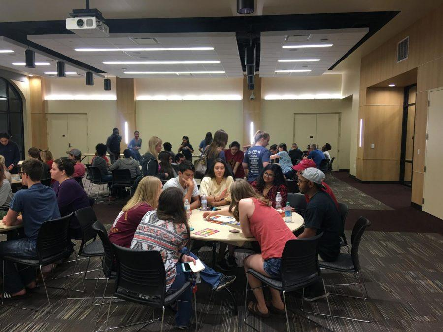 Redwine Honors Program students gather in the Legacy Multipurpose Room Tuesday, April 24 to play board games.