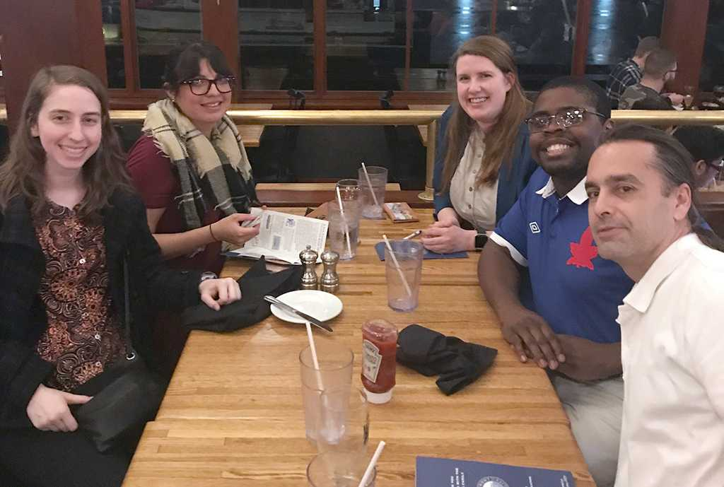 Emily Holub, political science adjunct professor; Natalia Zamora, political science and global studies senior,  Tiernan Harris, political science graduate, Herbert McCullough, political science senior, and Steve Garrison, political science chair, having dinner at Pier 39. Contributed photo.