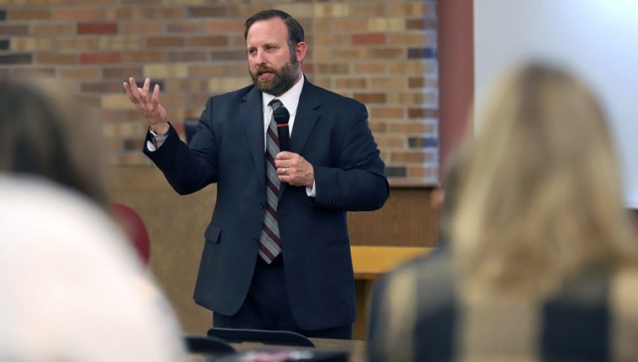 Jim Anderson, vice president candidate, speaks to staff members during the Vice President for Enrollment Management candidate forum at Dillard 101 on Monday, April 16, 2018. Photo by Jeromy Stacy