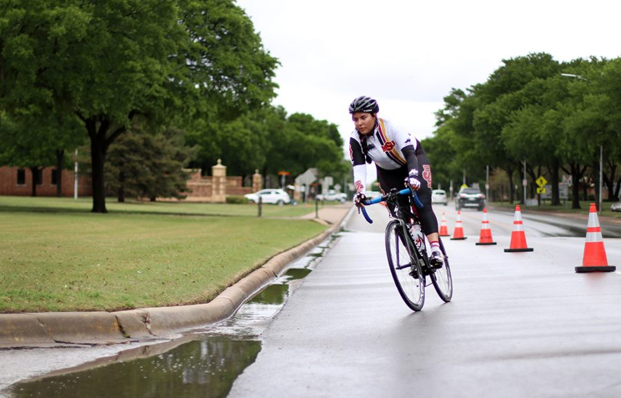 BIanca Zuleta, geology freshman, comes down Taft Blvd for one of the last laps of the B and C women's race at the 2018 Vuelta del Viento at Midwestern State University, Saturday April 21, 2018.