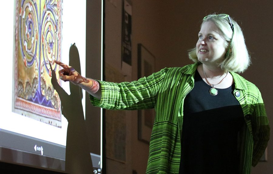 Kristen Lodge, english associate professor, gives a lecture at Prothro-Yeager 200 on western perspective of animals throughout history on Monday, April 2, 2018. Photo by Francisco Martinez