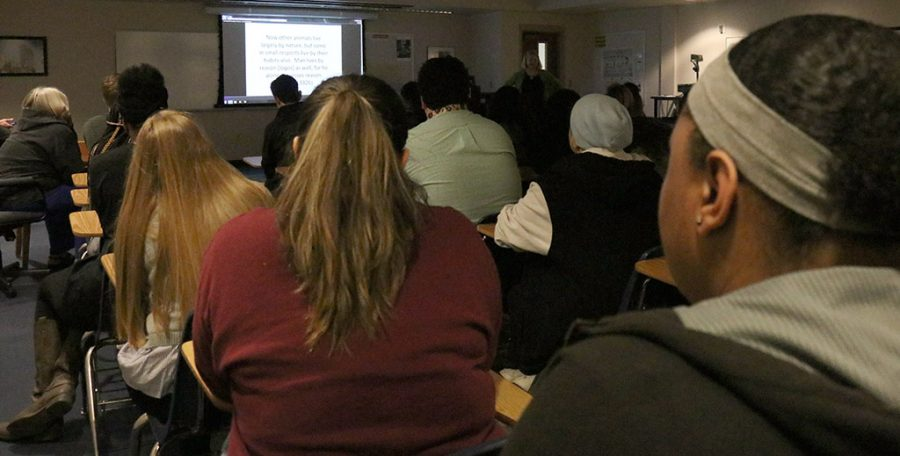 Students at Kristen Lodge, english associate professor, lecture at Prothro-Yeager 200 on western perspective of animals throughout history on Monday, April 2, 2018. Photo by Francisco Martinez