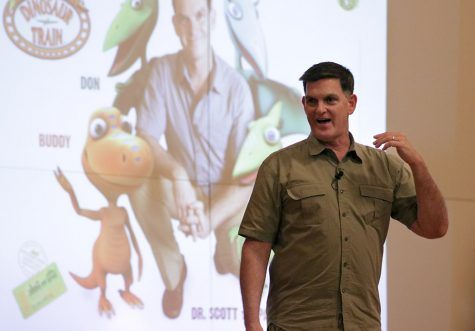 Scott Sampson, host and science adviser of the PBS KIDS television series Dinosaur Train, speaks to attendees about,