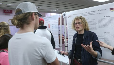 Garrison Horton, English senior, presents his project during the Undergraduate Research Endeavors and Creative Activity Forum Kickoff at Clark Student Center on Thursday, April 26, 2018. Photo by Francisco Martinez