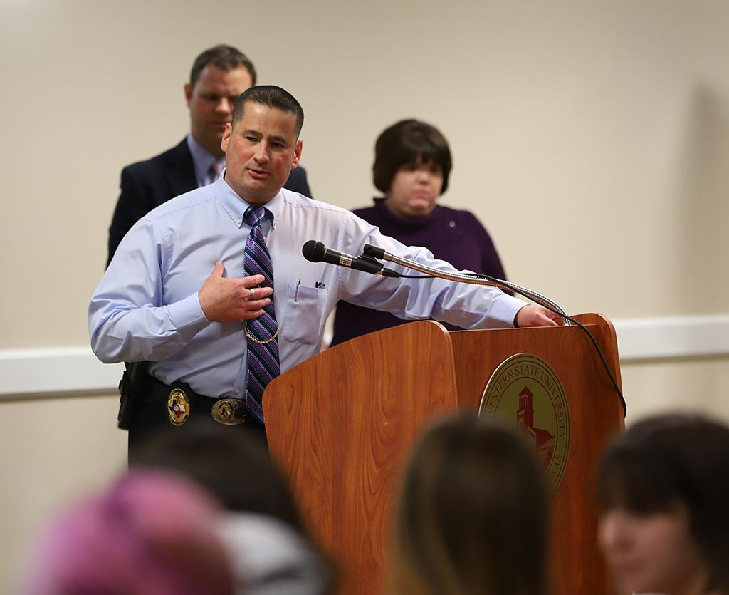 Patrick Coggins, chief of police, answers questions from students at the Open Forum about campus safety in CSC Comanche on March 19. Photo by Bridget Reilly