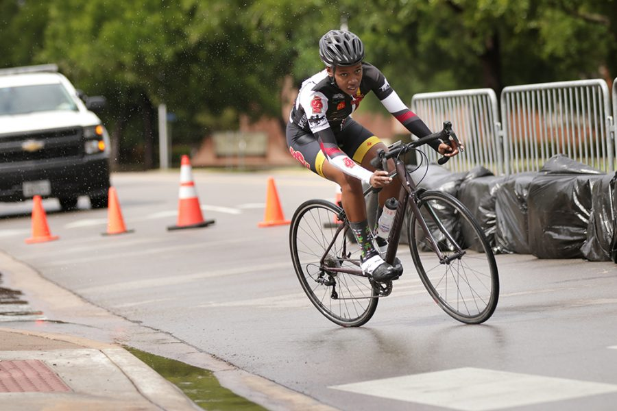 Brandi Hobson, kenisiology senior, participates in the Women's C category for the 2018 Vuelta del Viento at Midwestern State University on Saturday, April 21, 2018. Photo by Francisco Martinez