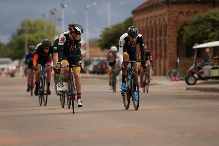 Bill Ash, accounting and finance senior, and Pablo Cruz, exercise physiology senior, talk during the 2018 Vuelta del Viento at Midwestern State University on Saturday, April 21, 2018. Photo by Francisco Martinez