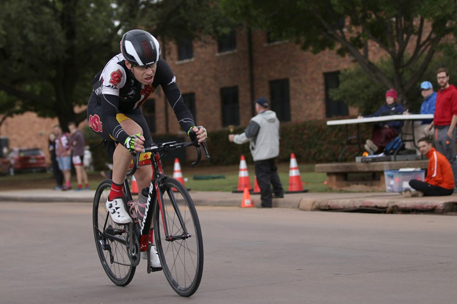 Bill Ash, accounting and finance senior, has a gap in the lead during the 2018 Vuelta del Viento at Midwestern State University on Saturday, April 21, 2018. Photo by Francisco Martinez