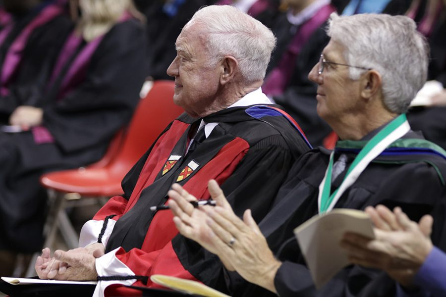 Everett Kindig, history professor, is recognized for his 47 years of serve to Midwestern State University during the MSU Commencement at Kay Yeager Coliseum on Saturday, May 12, 2018. Photo by Francisco  Martinez