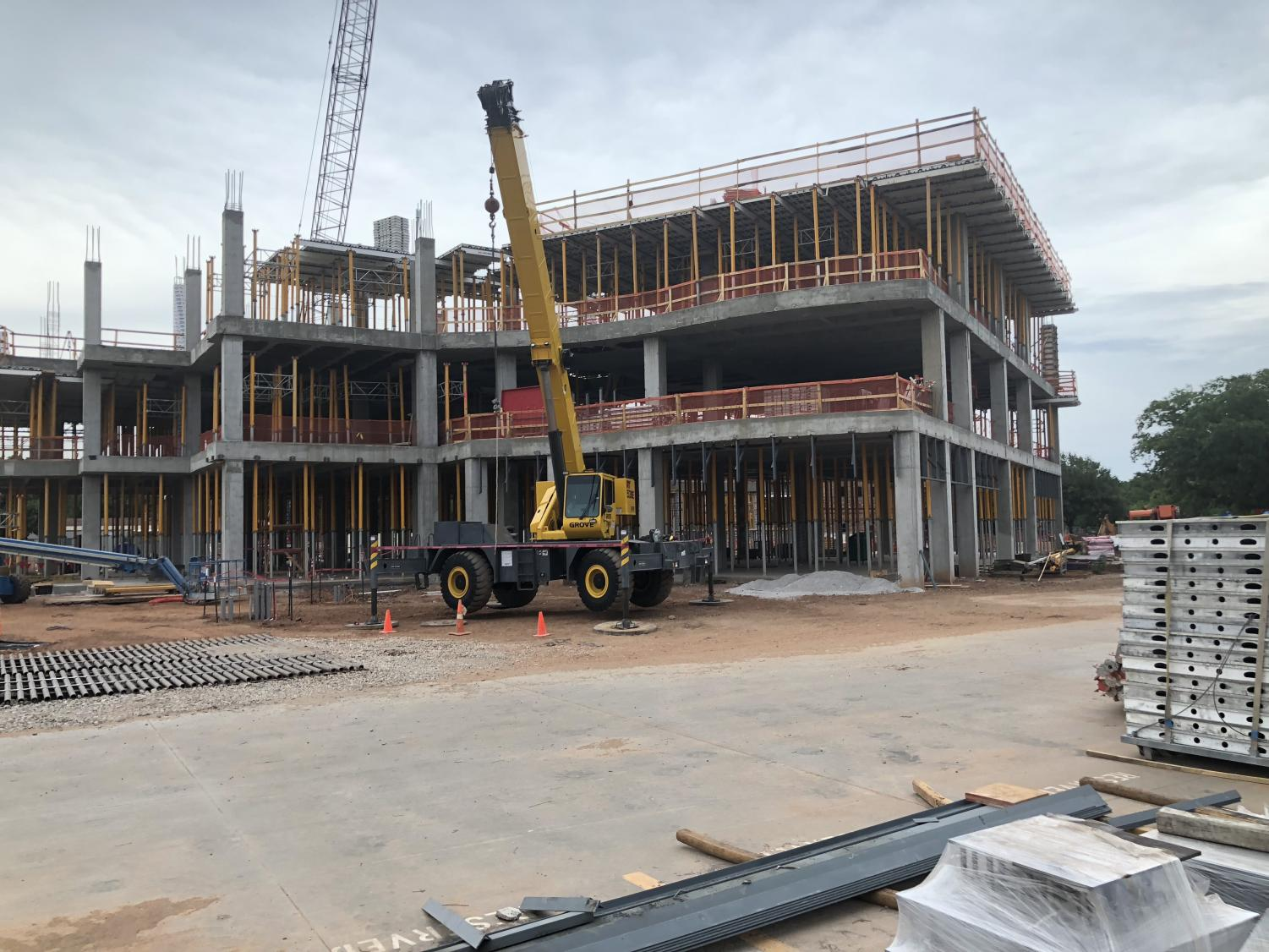 Construction continues on the new health sciences building, July 1.