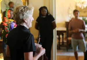 Suzane Shipley, university president, gives student a tour of the president's house during the president's picnic at Sikes House on Aug. 27. Photo by Stephen Gomez