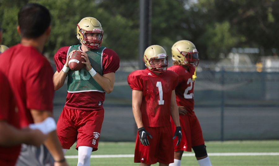 Layton Rabb during practice on the practice field on Aug. 22. Photo by Justin Marquart