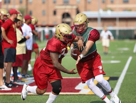 Layton Rabb and Nicholas Gabriel during practice on the practice field on Aug. 22. Photo by Justin Marquart
