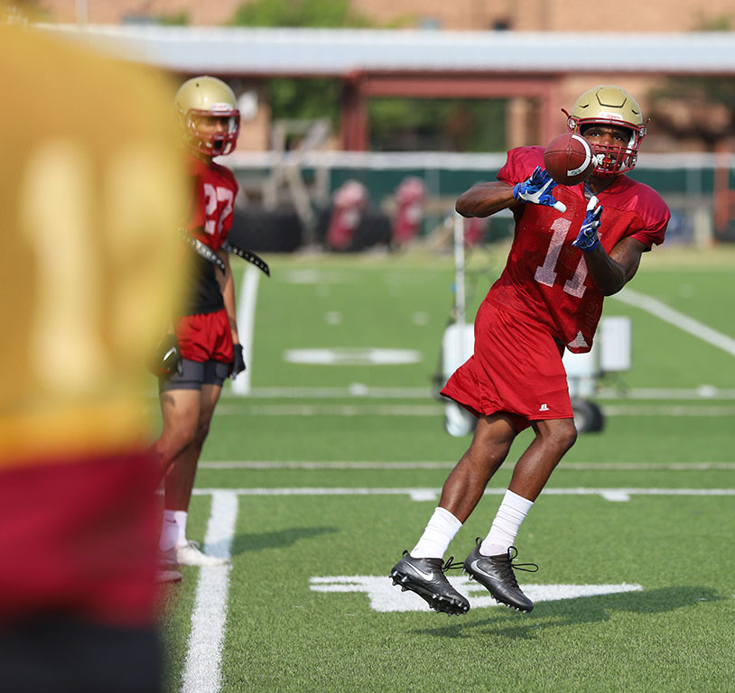 Juwan Johnson during practice on the practice field on Aug. 22. Photo by Justin Marquart