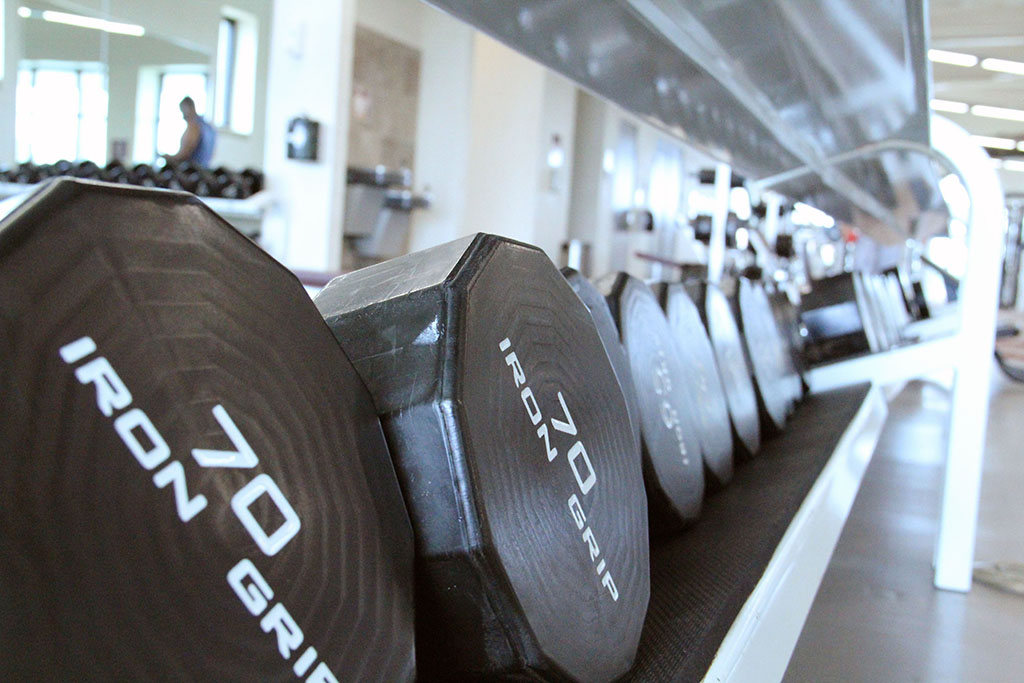 About 850 people workout at Wellness Center throughout the week days during the fall and spring semester. Photo by Cortney Wood