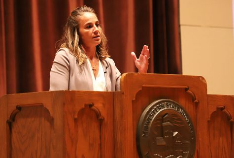 Becky Hammon, San Antonio Spurs assistant coach, speaks of her basketball story during the Artist Lecture Series Event at Akin Auditorim on Thursday Sep. 6, 2018.
