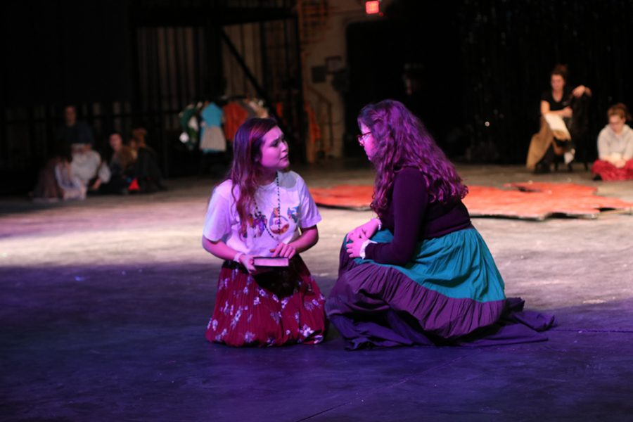 Mina, played by junior theater major Ilka Megee, speaks her worries about her husband to Van Helsing, played by freshman theater major Hannah Kelly on Sept. 13 2018 in Fain Fine Arts Theater. Photo by Jared Bruner