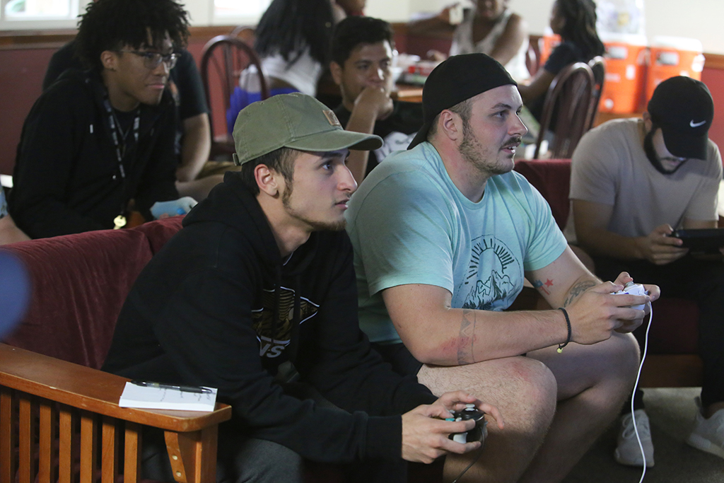 Nathan Martinez, mass communication sophomore, and Tyler George, criminal justice sophmore, at the Pierce Residence Hall Throwback Game night Sept. 29.