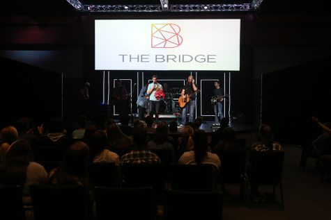 Andrew Reilly speaking at The Bridge, a college worship service affiliated with First Baptist Church, Oct. 23, 2018. Photo by Bradley Wilson