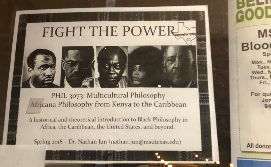 The original Africana Philosophy flyer posted in Prothro Yeager Nov. 1.