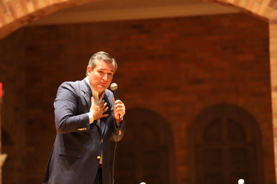 Ted Cruz speaks in Akin Auditorium.