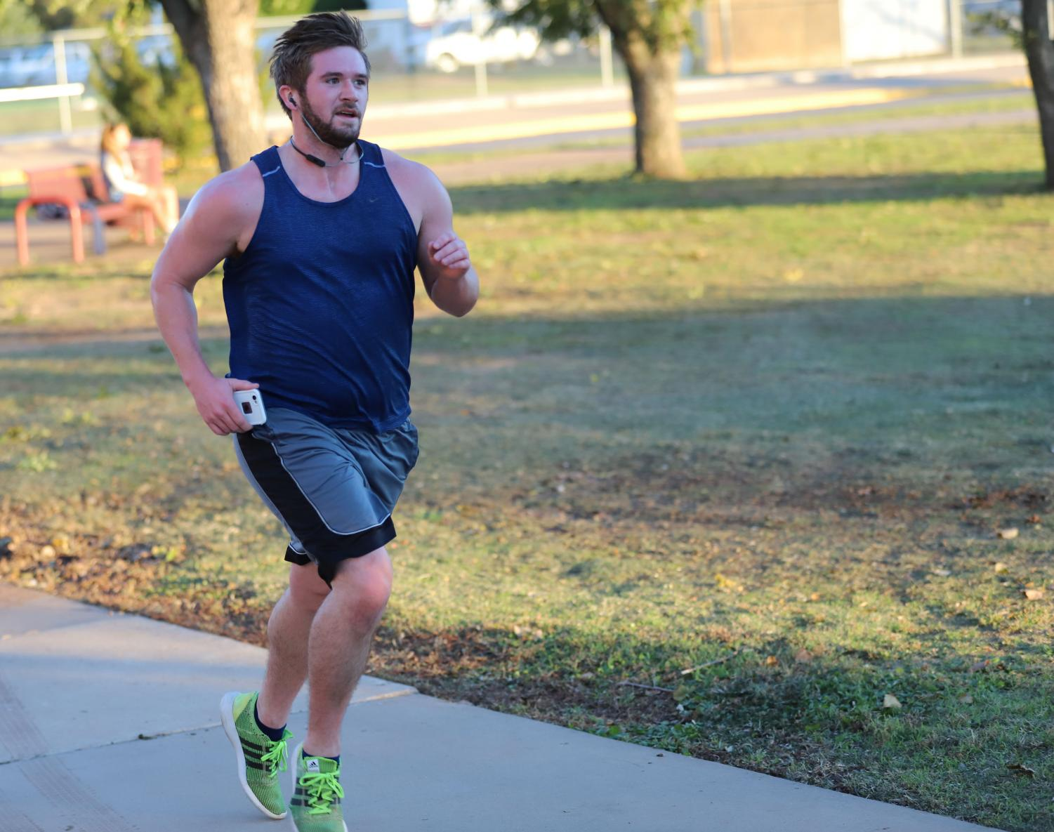 Jeffrey Hamon, exercise physiology senior, runs in the Turkey Trot on Nov. 14.