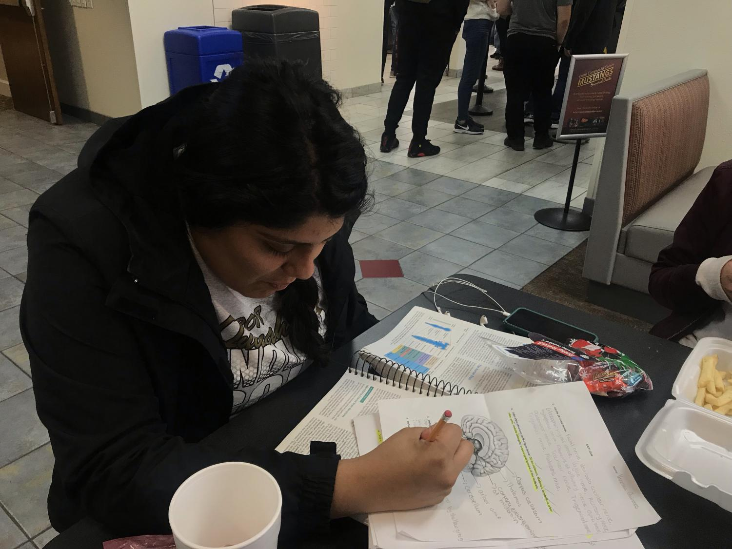Vanessa Quiñones, radiology freshman, studying for an upcoming test at the Clark Student Center.