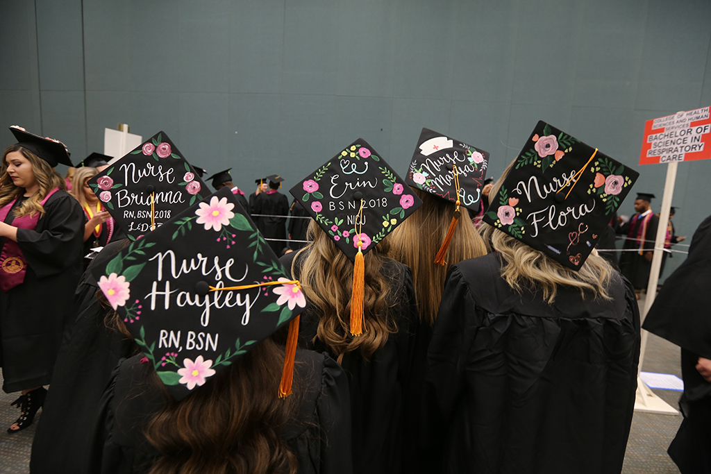 Hats+from+students+in+nursing+at+Midwestern+State+University+graduation+Dec.+15%2C+2018.+Photo+by+Bradley+Wilson