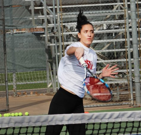 Finance Junior Emilija Segetlija strikes overhand during pre-season practice. Jan 21. Photo by Sharome Burton.
