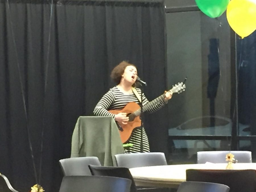 The guitarist Hazel, singing at Feed The Soul on Feb. 17 in Legacy Multipurpose Room