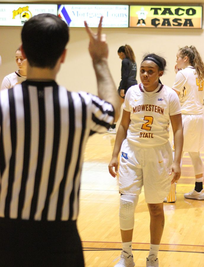 Pre+physical-therapy+senior%2C+Chelcie+Kizart+steps+to+the+foul+line+in+final+minutes+of+the+game.+Photo+by+Sharome+Burton.+Feb.+2.