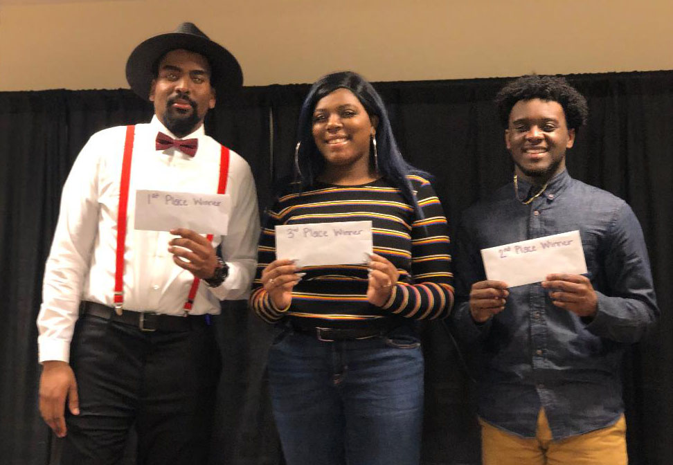 The talent show winners, Grantley Samuels, Kenidee Cooper and Preston Busby, at the Black Student Union sixth annual show Feb. 21.