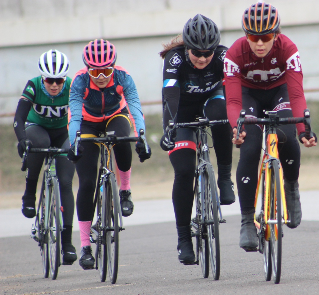 Brissia+Montalvo+%28second+left%29%2C+exercise+physiology+graduate+rides+within+leading+group+during+women%27s+%27A%27+criterium.+Photo+by+Sharome+Burton.+March+10.