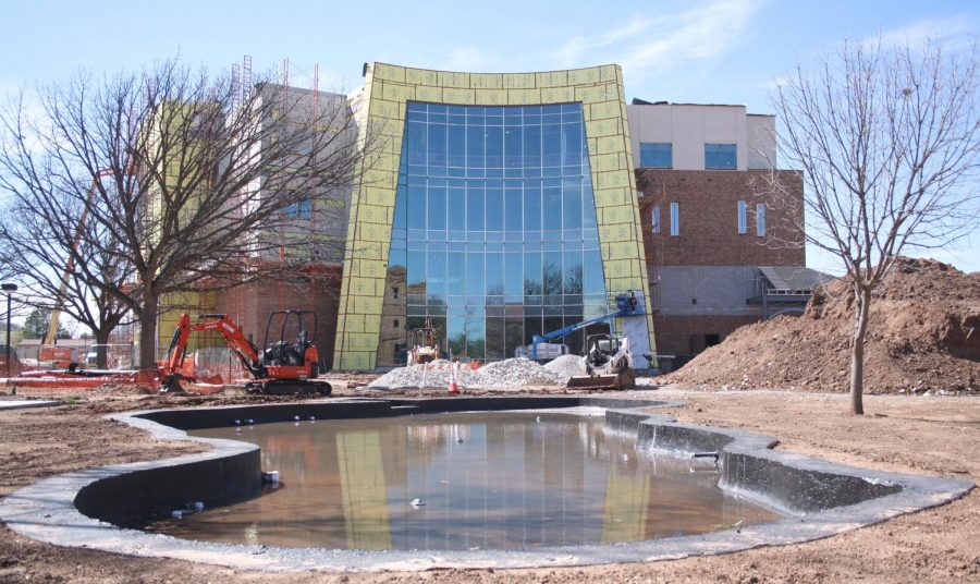 A front view of the new health sciences building, scheduled to be opened for Fall semester classes. March 15. Photo by Bridget Reilly